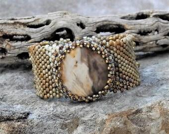Jewelry - Free Form Peyote Stitch Beaded Bracelet CUFF - Bead Weaving - Wood Opal Cabochon- BOHO