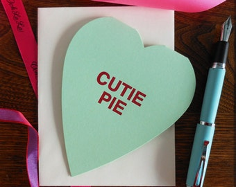 letterpress cutie pie conversation heart greeting card sweetheart candy inspired heart shaped valentine tradition