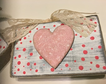 Distressed Pink Heart Wooden Plaque Box with Polka Dots and Lace