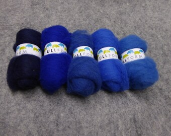 Norwegian carded wool fleece bundles in Blue colours