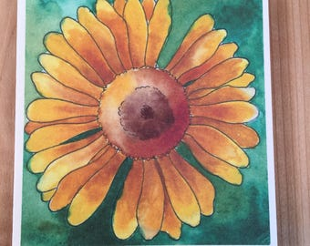 Yellow Daisy cards, Flower Gift Tags, Mini Card, Flower Cards, Gift for gardeners, Watercolor cards, Handmade cards, Nature cards