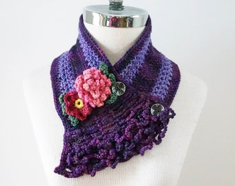 Peony Rose Scarf in a Purple, Pink, Green, Peony and Wild Rose accents, Floral scarf, hand painted Merino Wool, peony scarf, woman's scarf