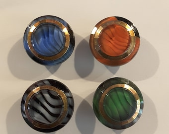 Czech glass Moonglow 'Tiger eye' buttons ( available in grey, blue, red and green.)