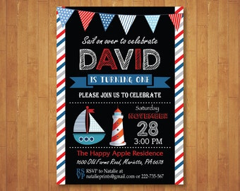 Nautical Birthday Invitation. Ahoy Sail Boat Boy Birthday. 1st First Birthday. Anchor Red Navy Blue White. Printable Digital.