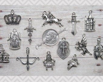 13pc Medieval / Knight Charm Pendant Lot Set Collection /Jewelry,Scrapbooking,Crafts / Choose Split Rings,Lobster Clasps,European Bails