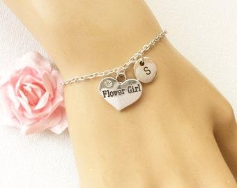 Silver flower girl bracelet, flower girl bracelet, flower girl jewellery, flower girl gift, wedding gift, bracelet for flower girl