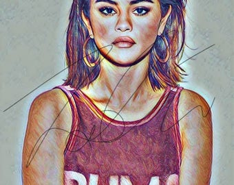 Selena Gomez Drawing PRINT Wall Art Coloured pencil artwork celebrity singer hand drawn Art illustration Pink workout #GOMEZ2