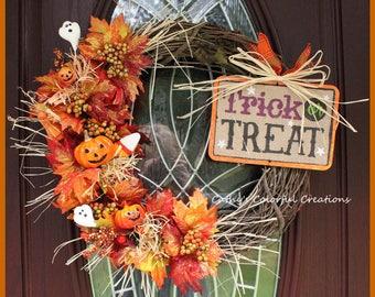 Halloween Wreath, Country Halloween Wreath, Pumpkin Wreath, Halloween Decor, Fall Decor, Fall Wreath, Grapevine Halloween Wreath Door Wreath