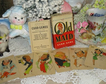 Vintage Childrens Playing Cards-Old Maid-Parker Brothers-VERY OLD-1930's-Complete