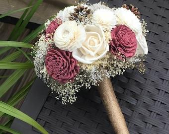 Rose, Mocha and Ivory Wedding Bouquet made with sola flowers - choose colors - bridal bouquet - Alternative bouquet - bridesmaids bouquet
