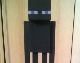 Minecraft inspired Enderman from wooden Figure deco