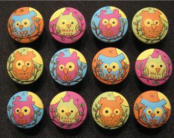 BRIGHT OWLS - Set of 12 - Hand Painted Wooden Drawer Knobs/Pulls - Great for Kid's Room, Nursery or Office