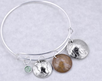 80th Birthday Gift - 1938 Mercury Dime Buffalo Nickel Wheat Penny Coin Birthstone Bangle Bracelet Jewelry - Birthday Gift for Grandma Mother