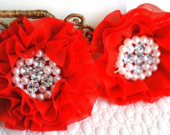 Set of 2 - Red Beaded Fabric Flowers - Red Fabric Flower - Wholesale Supplies - Parisian Chiffon Beaded Flower - Chiffon Flowers