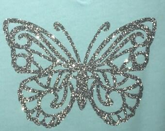 Blue V-neck Glitter Butterfly T-Shirt