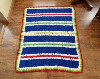 Vintage Afghan Handmade Crocheted Baby Blanket Multi Colored Throw