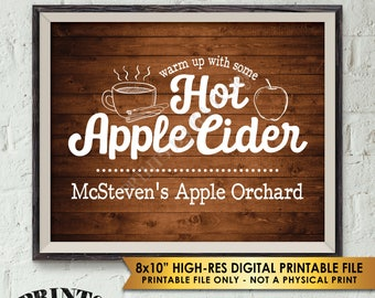 """Hot Apple Cider Sign, Custom Cider Sign, Autumn Fall Apple Orchard Signature Drink Sign, Rustic Wood Style PRINTABLE 8x10"""" Apple Cider Sign"""
