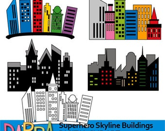Superhero Skyline Buildings clipart - skyscraper city buildings clipart - superhero city background - digital clip art