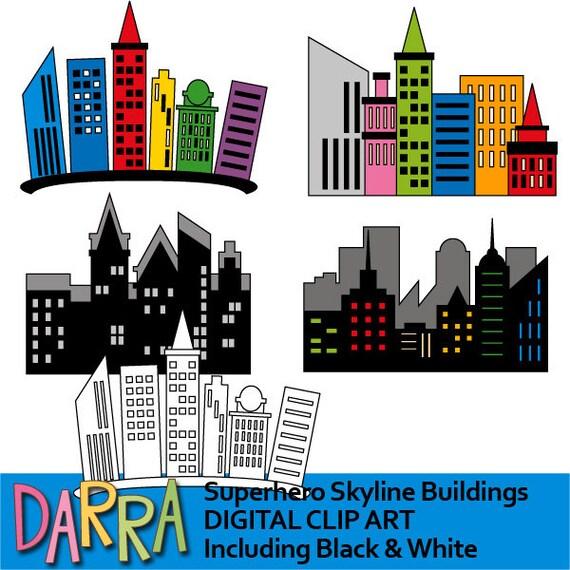 superhero skyline buildings clipart skyscraper city rh etsy com city buildings clipart City Scene Clip Art