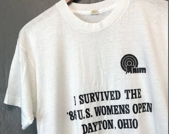 M thin vintage 80s AIM Dayton Ohio handicapped t shirt