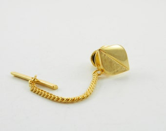 Vintage Gold Leaf Lapel Pin with Chain - 001 - Vintage Tie Tack