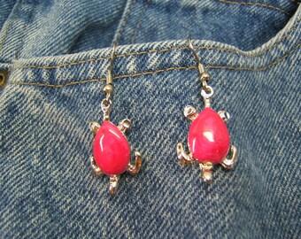 On sale! Gift Idea, Silver, Turtle Earring, Earrings, Sea Turtle, Boho, Bohemian, Womens, Jewelry, Accessories, Pink Epoxy, #80262-2