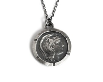 Roman Figure Coin Medallion Necklace Sterling Silver for Men or Women