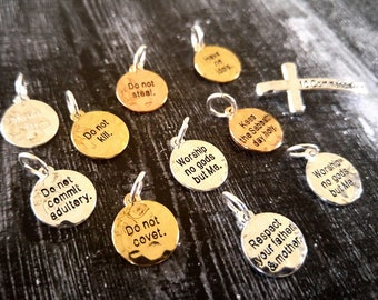 Ten Commandments Charms Set Gold Silver Rose Gold Charms with Jump Rings Cross Slide Bead Word Charms Quote Charms Bible Quote Charms 11 pc