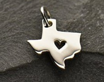 Texas State Charm, Sterling Silver Texas Charm, Texas Charm, Silver Texas Charm, Heart in Texas, Texas State Charm