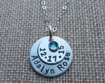 Silver Necklace - Personalized Necklace - Gift for Her- Silver Necklace - Jewelry - Hand Stamped - Personalized Jewelry - Meaningful Gift