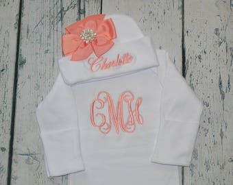 Monogrammed Baby Gown and Hat with Bow Rhinestone - Layette set Personalized Newborn Girl Coming Home outift