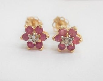 Ruby Earrings, July Birthstone Earrings, Gold Ruby Earrings, 10k Yellow Gold .49 CTW Natural Ruby Diamond Accent Stud Post Earrings #4420