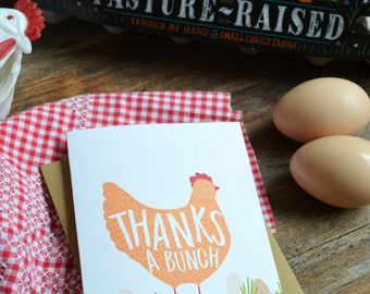 Thanks a bunch, Farmhouse Style, Farm Life, Mama Hen, Chicken Mama, Greeting Card, Hand Drawn, Mom, Mama, Momma, Farmhouse, Thank you card
