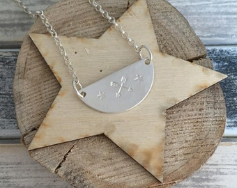 Friendship - handstamped sterling silver pendant