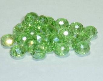 10 pearls 8mm iridescent light green swarovski crystal