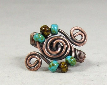 Beaded Copper Wire Ring, Copper Spiral Ring, Patina Ring, Copper Ring, Rustic Copper Ring, Copper Wire Wrapped Ring,