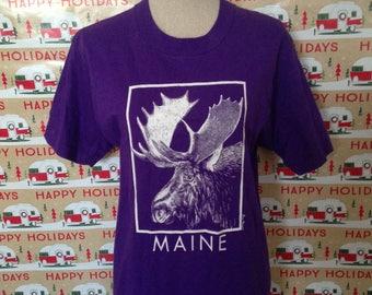Vintage early 90s Maine Moose Purple Tshirt