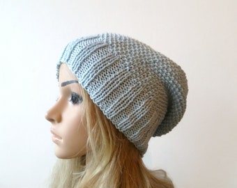 Cotton Slouchy Beanie, Hand Knit Hat, Women Slouch Beanie, Light Blue Cotton Slouch, Women Cotton Hat, Spring Eco Hat, ClickClackKnits