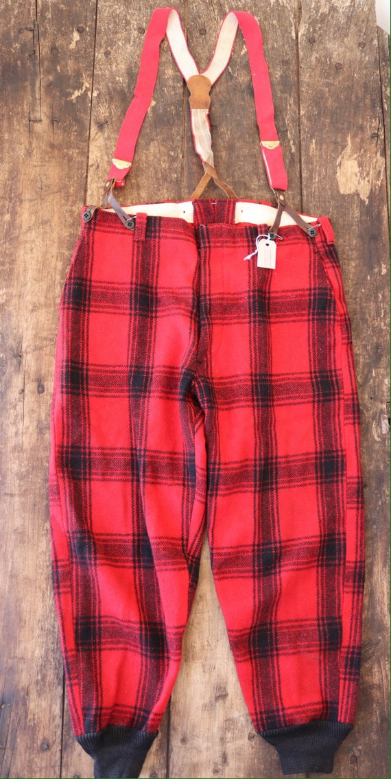 "Vintage 1960s 60s Pine Creek red black checked plaid wool hunting trousers breeches suspender buttons 36"" x 30"""