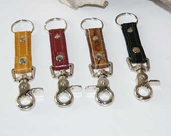 Leather Key Chain with Swivel Lobster Clasp - Leather Key Fob - Leather Key Ring - Valet Keychain - Gift - Choose Color
