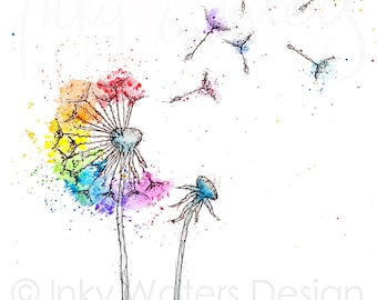 Rainbow Dandelion - blank - A6 greeting card - wishes - any occasion - dandelion card