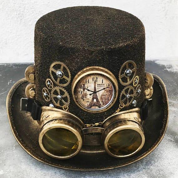 STEAMPUNK HAT GOGGLES Set 2 pc Gold Brass Vintage-Look