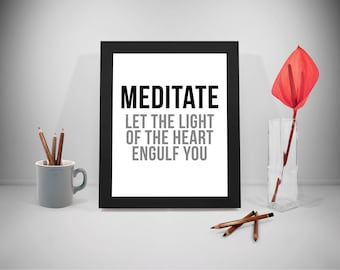 Meditation quote, Meditation Print, Meditation Poster, Meditate Quote, Let The Light Of Your Heart Quote, Mediation Quotes, Meditation
