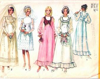 Simplicity 9608 Woman's Retro Wedding Dress, Bridal Dress, Bridesmaid Dress and Bolero Sewing Pattern Size 12 Vintage 1970's