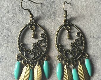 romantic earrings green and bronze