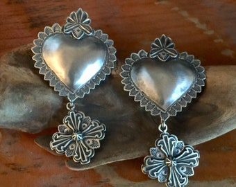 EBH12 The Santa Fe Heart repousse over the Truchas sterling silver southwestern native style earrings