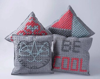 Rapido phildar wool cushion with embroidery Kit