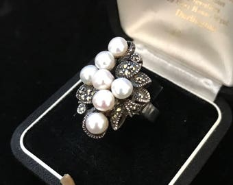 Art Deco Style Ring With Pearls Sterling Silver and Marcasites, Size P 1/2 Ring/ US Size 7 3/4