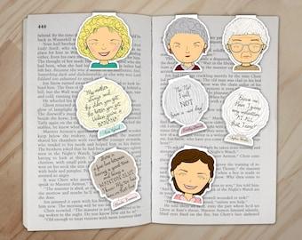 Golden Girls Magnetic Bookmarks Set - Dorothy, Rose, Blanche, and Sophia Clips