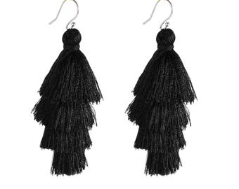 Four Layered Black Tassel Earrings With Sterling Silver Ear Wires Dangle Earrings Long Statement Earrings